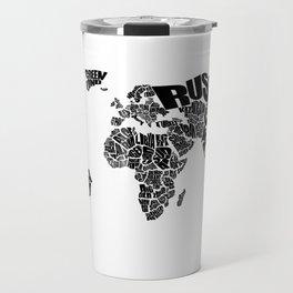 World Word Map - Black and White Travel Mug