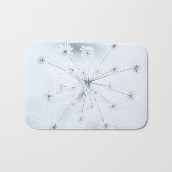 Beautiful Dry Flower with Ice Crystals Bath Mat