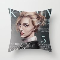 snk Throw Pillows featuring SnK Magazine: Annie by emametlo