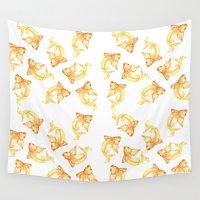 goldfish Wall Tapestries featuring Goldfish by kristinesarleyart