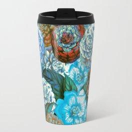 Vintage & Shabby - blue floral camellia flowers watercolor pattern Travel Mug