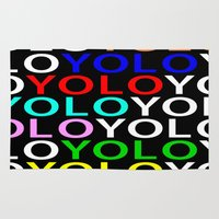 yolo Area & Throw Rugs featuring YOLO by Jeremy Crabtree