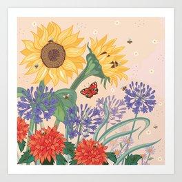 Sunflower Bees Art Print