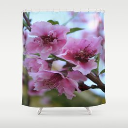 Peach Tree Blossom Close Up Shower Curtain