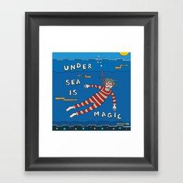 Snorkeling Boy Framed Art Print
