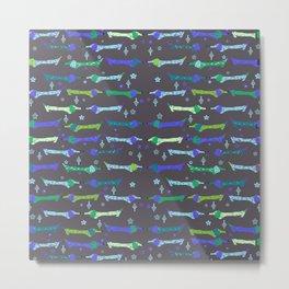 Dappled Dachshund Print in blues and greens Metal Print