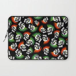 Punk skull mohawk black pattern - punk rock skulls - punk style - punks not dead - anarchy Laptop Sleeve