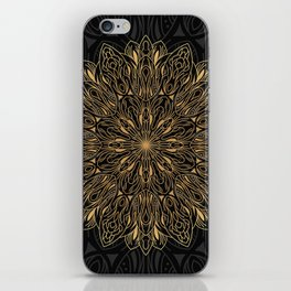 MANDALA IN BLACK AND GOLD iPhone Skin
