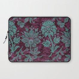 Burgundy Turquoise Velvet Floral Pattern 05 Laptop Sleeve