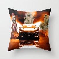 honda Throw Pillows featuring HONDA NSX,RACING CAR,NIGHTMARE by ira gora