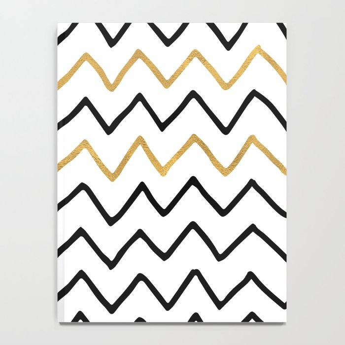 Writing Exercise- Simple Zig Zag Pattern - Black on White Gold - Mix & Match Notebook