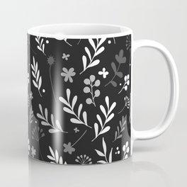 Floral Pattern - Black Background Coffee Mug