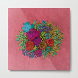 Wildflowers Bouquet in Coral Metal Print