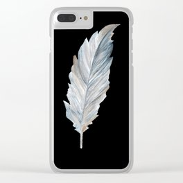 Bird Feather on Black Clear iPhone Case