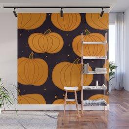 Halloween Orange Pumpkins Seamless Pattern Wall Mural