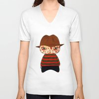 freddy krueger V-neck T-shirts featuring A Boy - Freddy Krueger by Christophe Chiozzi