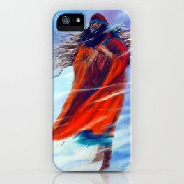 Native American Woman Female Figure Winter Scene Working Snowing Snow Beautiful Powerful Strong  iPhone Case