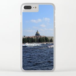 Passenger Boats on Neva River with dome of St. Isaac's Cathedral. Clear iPhone Case