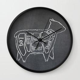 Lamb Butcher Diagram (Sheep Meat Chart) Wall Clock