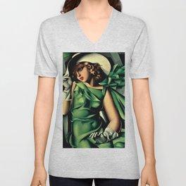 Girl in a Green Dress Art Deco Haute Couture portrait painting Tamara de Lempicka Art Print Unisex V-Neck