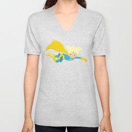 Superhero Girl, Blonde Hair, Yellow Cape Unisex V-Neck