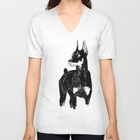 doberman V-neck T-shirts featuring Doberman by Cassandra Jean