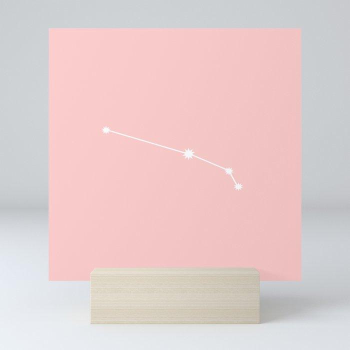 Aries Star Sign Soft Pink Mini Art Print