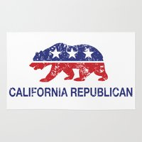 political Area & Throw Rugs featuring California Political Republican Bear Distressed by Republican