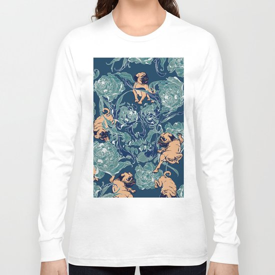 Climbing Pug & Floral Long Sleeve T-shirt