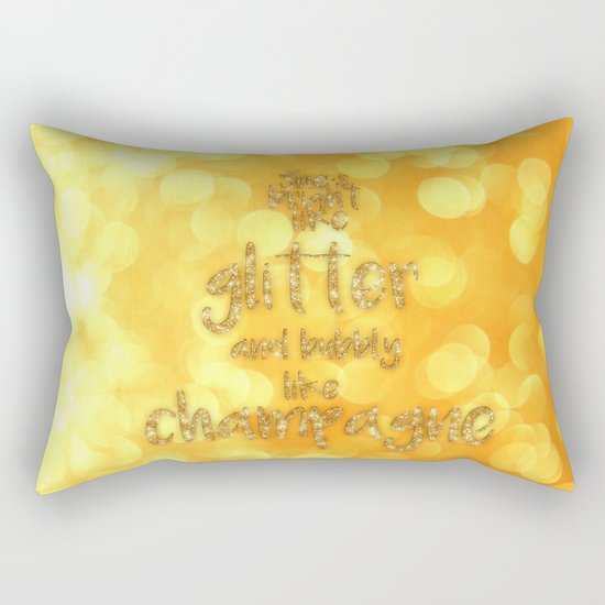 She is bright- Gold  glitter Typography - Rectangular Pillow