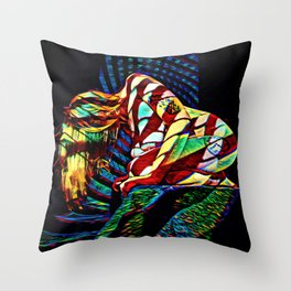 1894s-MS Crouching Woman Abstract Art Nude Throw Pillow