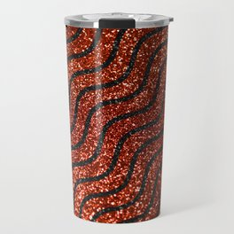 Red Glitter With Black Squiggle Pattern Travel Mug