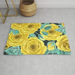 Yellow watercolor roses with leaves and buds pattern Rug