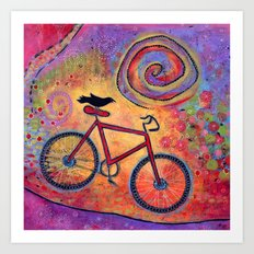 Just Ride and Fly Bicycle and Raven Art Print