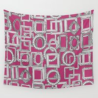 frames Wall Tapestries featuring picture frames aplenty fuchsia pink by Sharon Turner