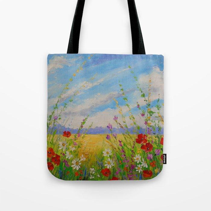 Flowers in a field Tote Bag