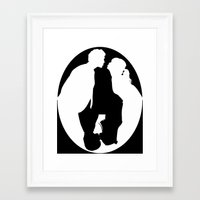 pushing daisies Framed Art Prints featuring Pushing Daisies silhouette kiss by Reggie Vass