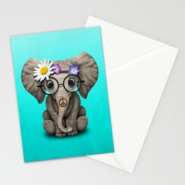 Cute Baby Elephant Hippie Stationery Cards