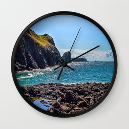 Kynance Cove - Looking towards Lion Rock Wall Clock