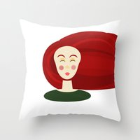 doll Throw Pillows featuring Doll by Catherine A.