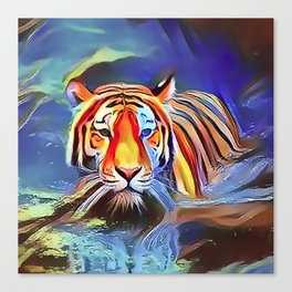 Bengal Tiger Crossing the Lake Canvas Print