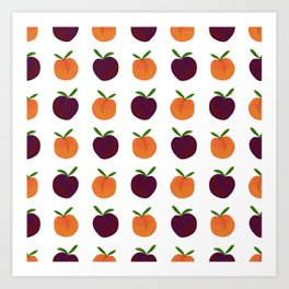 Peachy Plummy Hand-Painted Orchard Fruits in Orange and Purple Art Print