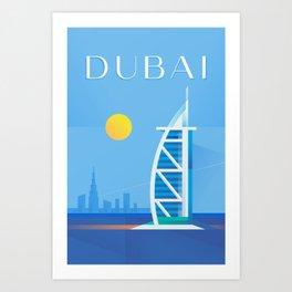 Dubai Minimal Art Deco - Travel Poster Art Print