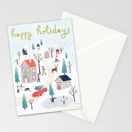 Happy Winter Town Stationery Cards