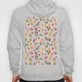 Cute ducks and rabbits with flowers Hoody