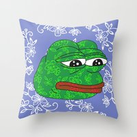 rare Throw Pillows featuring Rare Pepe by Mischievie