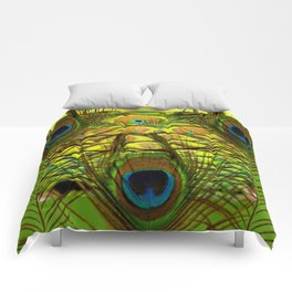 GREEN-YELLOW PEACOCK ART Comforters