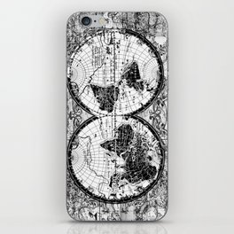 world map black and white iPhone Skin