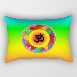 Ohm with Chakra Colours Rectangular Pillow
