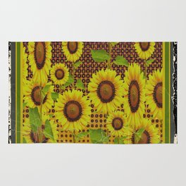 GRUBBY WORN BROWN SUNFLOWERS ART Rug